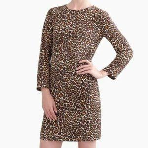 J.Crew leopard print long sleeves midi dress
